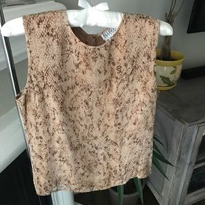 Snake print silk top with button down back size M
